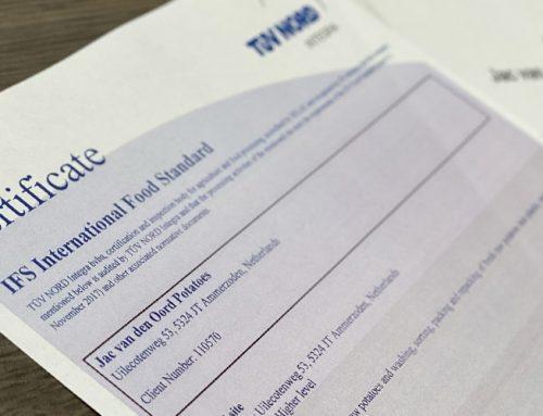 Jac van den Oord Potatoes behaalt opnieuw Higher Level certificaat voor IFS Food