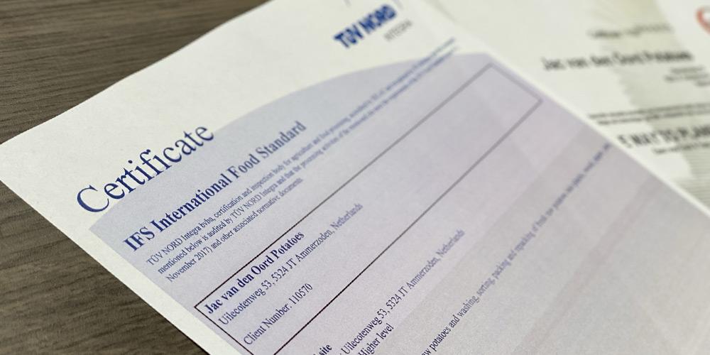Jac van den Oord Potatoes obtient à nouveau un certificat de niveau supérieur pour IFS Food